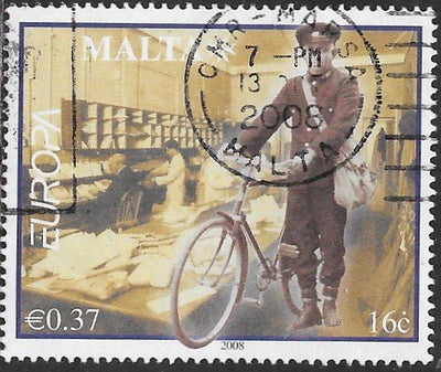 Malta 1338 Used - ‭‭Europa - Writing Letters - ‭Mail Room, Postman with Bicycle