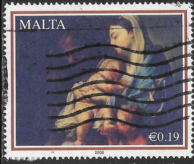 Malta 1352 Used - ‭‭Christmas - ‭Madonna and Child by Francesco Trevisani
