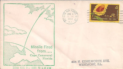 US Event Cover - Missile Fired From Cape Canaveral Event Cover - 8/3/1961