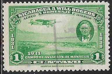 Nicaragua C236 Used - Will Rogers & View of Managua - Airplane