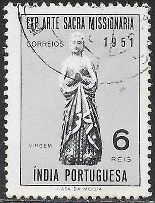 Portuguese India 524 Used -‭ Exhibition of Sacred Missionary Art - Statue of Virgin Mary