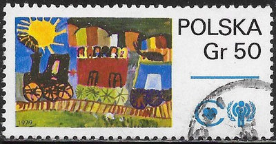 Poland 2314 Used - ‭Children's Paintings - ‭Train and IYC Emblem