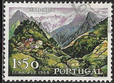 Portugal 1030 Used - ‭‭Madeira & the Lubrapex 1968 Stamp Exhibition - Mountains & Valley
