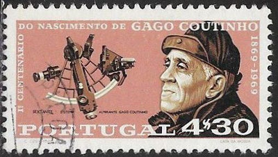 Portugal 1055 Used - ‭‭‭Admiral Carlos Viegas Gago Coutinho (1869-1959), Explorer & Aviation Pioneer - ‭Sextant