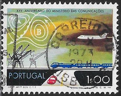 Portugal 1180 Used - ‭Ministry of Communications, 25th Anniversary - ‭Transportation, Weather Map