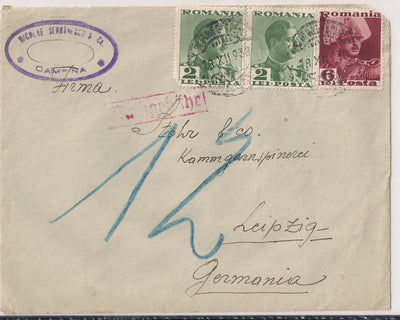Romania Postage Due Cover To Germany 10/18/1938