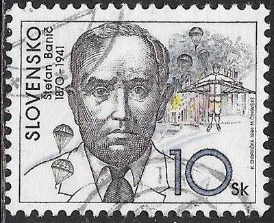 Slovakia 198 Used - ‭Personalities - Štefan Banič (1870-1941), Inventor of Aviation Parachute
