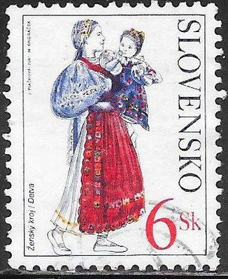 Slovakia 375 Used - ‭‭Traditional Costumes - ‭Woman & Child from Detva