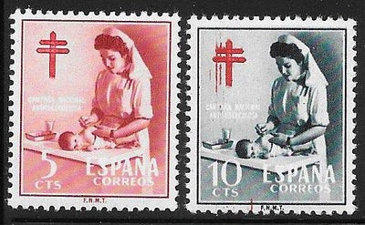 Spain RA34-RA35 MNH - Nurse & Baby - Bloody Cross EFO