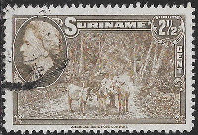 Suriname 187 Used - ‭Road Scene, Coronie District - ‭Queen Wilhelmina