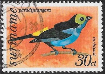 Suriname C60 Used - Birds - ‭Paradise Tanager