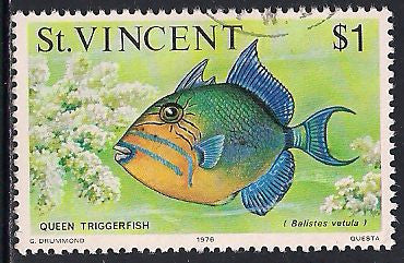 St. Vincent 422 Used - Fish & Whales - Queen Triggerfish