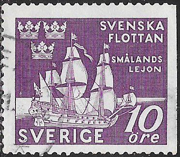 Sweden 356 Used - ‭Tercentenary of the Swedish Naval Victory at Femern, 1644 - Ship (The Lion of ‭Smaland)
