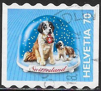 Switzerland 1101 Used - ‭‭Souvenir Snow Globes - St. Bernard
