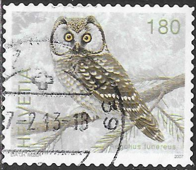 Switzerland 1276 Used -‭ Bird - ‭Boreal Owl (Aegolius funereus)