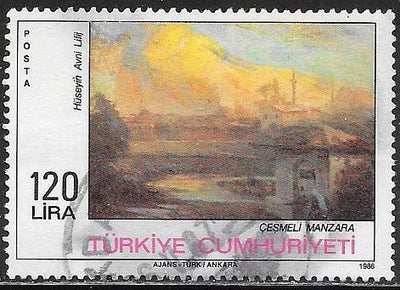 Turkey 2363 Used - Landscape with Fountain by Avni Lifij - Painting