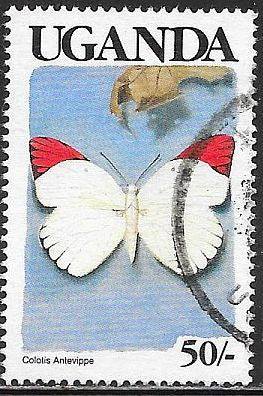 Uganda 708 Used - Butterfly - Red Tip