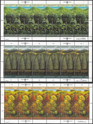United Nations NY 523a, Geneva 166a, Vienna 81a MNH Mini-Sheets - Forest