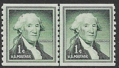 US 1054 MNH Joint Line Coil Pair - Liberty Issue - George Washington