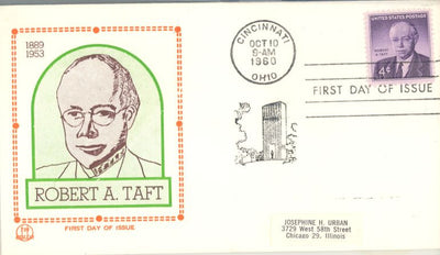 US 1161 FDC Tri-Color -Robert Taft