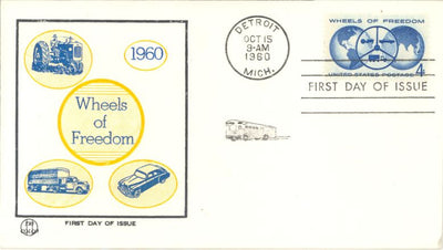 US 1162 FDC Tri-Color - Wheels of Freedom