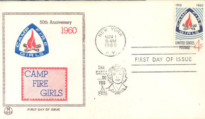 US 1167 FDC Tri-Color - Camp Fire Girls