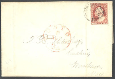 US 11A Cover - Boston MA to Wareham, MA - Folded Letter with Contents
