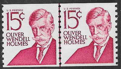 US 1305E MNH Joint Line Coil Pair - Prominent American Series - O.W. Holmes