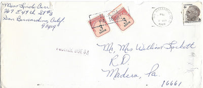 US 1305 & J91 (x2) Cover - Postage Due - October 1969 - F.D. Roosevelt