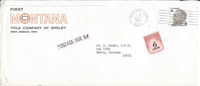 US 1305 & J94 Cover - Postage Due - November 1968 - Shelby, MT - F.D. Roosevelt