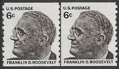 US 1305 MNH Joint Line Coil Pair - Prominent American Series - F.D. Roosevelt