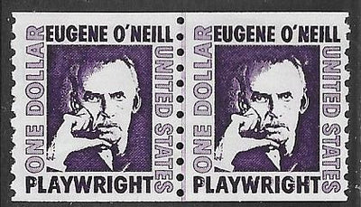 US 1305C MNH Joint Line Coil Pair - Prominent American Series - Eugene O'Neill - Dull Gum