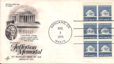 US 1510d FDC - ArtCraft - Jefferson Memorial - Booklet Pane