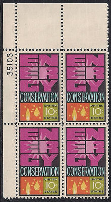 US 1547 MNH Plate Block - Plate # 35103 UL - Energy Conservation