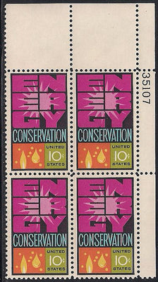 US 1547 MNH Plate Block - Plate # 35107 UR - Energy Conservation