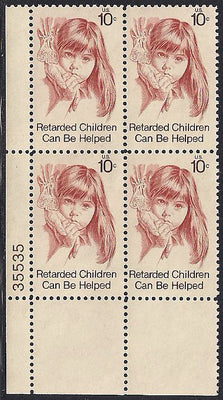 US 1549 MNH Plate Block - Plate # 35535 LL - Retarded Children Can Be Helped