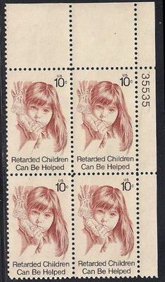 US 1549 MNH Plate Block - Plate # 35535 UR - Retarded Children Can Be Helped