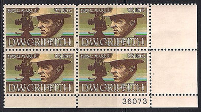 US 1555 MNH PB - Plate # 36073 LR - Color Shift - LR 36073 - D.W. Griffith
