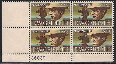 US 1555 MNH Plate Block - Plate # 36039 LL - D.W. Griffith
