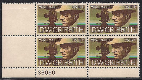 US 1555 MNH Plate Block - Plate # 36050 LL - D.W. Griffith
