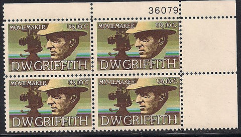 US 1555 MNH Plate Block - Plate # 36079 UR - D.W. Griffith