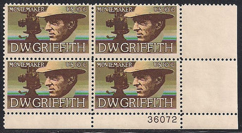 US 1555 MNH Plate Block - Plate # 36072 LR - D.W. Griffith