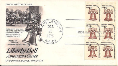 US 1595a FDC - ArtCraft - Booklet Pane - Liberty Bell - Americana