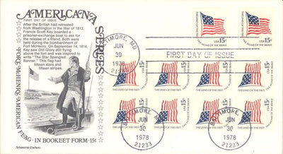 US 1598a FDC - Aristocrat Cachet - Americana Flag Booklet Pane