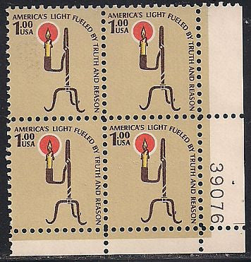 US 1610 MNH PB - Plate #39076 LR - $1.00 Americana -  Rush Lamp and Candle Holder