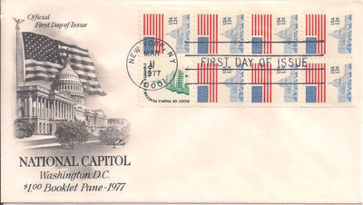 US 1623a FDC Booklet Pane - ArtCraft - Flag Over Capitol