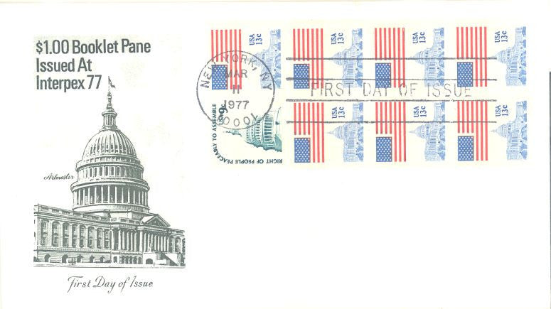 US 1623a FDC - Artmaster - Flag & Capitol - Booklet Pane