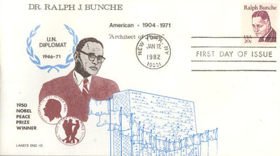 US 1860 Ralph Bunche FDC - Land's End 13th Issue