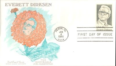 US 1874 FDC - Doris Gold Cachet -  Everett Dirksen