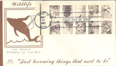 US 1889a FDC - Justice Cachet - Wildlife Booklet Pane